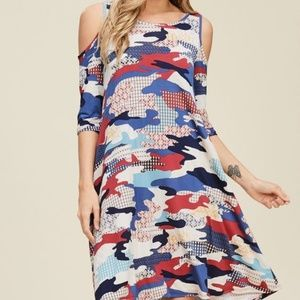Annabelle PuffCamo Print Cold Shoulder Swing Dress